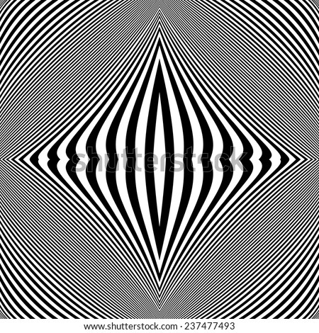 Design monochrome movement illusion background. Abstract striped lines twisted distortion backdrop. Vector-art illustration. No gradient - stock vector