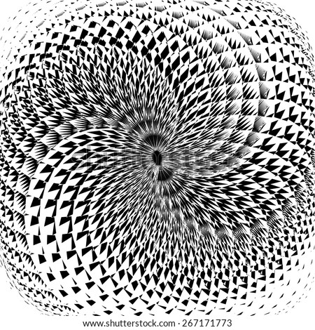 Design monochrome swirl motion background. Abstract torsion twisted backdrop. Vector-art illustration. No gradient - stock vector