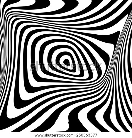 Design monochrome swirl movement illusion background. Abstract stripe drop torsion twisted backdrop. Vector-art illustration - stock vector