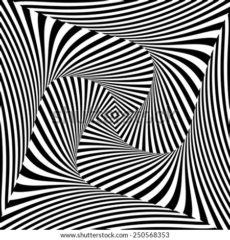 Design monochrome vortex movement illusion background. Abstract striped distortion twisted backdrop. Vector-art illustration - stock vector