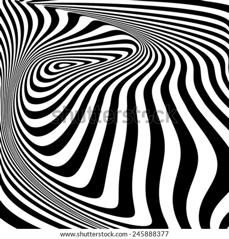 Design monochrome vortex movement illusion background. Abstract stripy twisted torsion backdrop. Vector-art illustration - stock vector