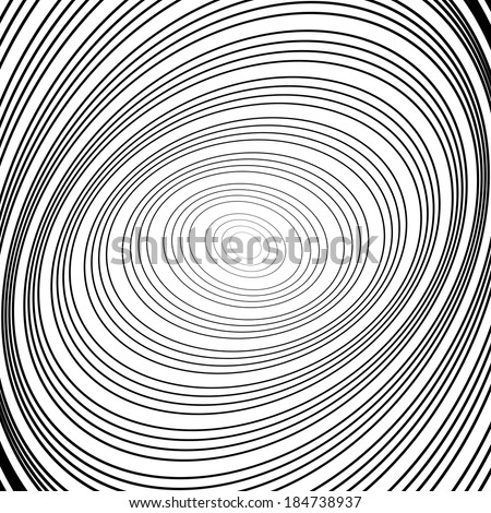 Design monochrome whirl circular motion background. Abstract striped distortion backdrop. Vector-art illustration - stock vector