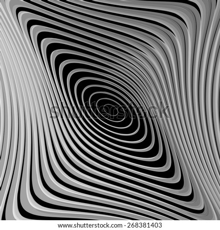 Design monochrome whirl ellipse motion background. Abstract striped twisted distortion backdrop. Vector-art illustration. EPS10 - stock vector
