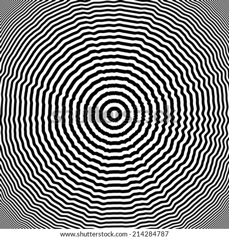 Design monochrome whirl illusion background. Abstract striped lines distortion twisted backdrop. Vector-art illustration - stock vector