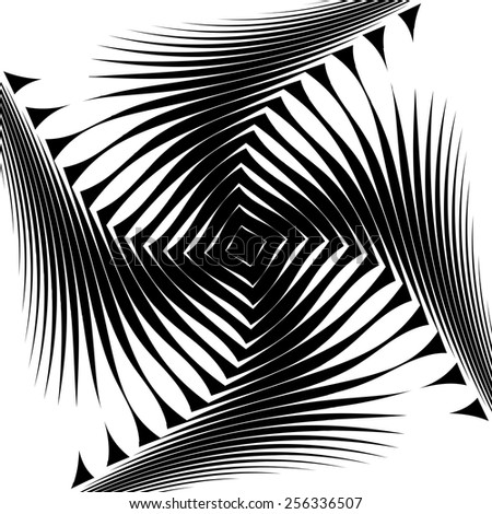 Design monochrome whirl movement background. Abstract lines torsion twisted backdrop. Decoration element. Vector-art illustration. No gradient - stock vector