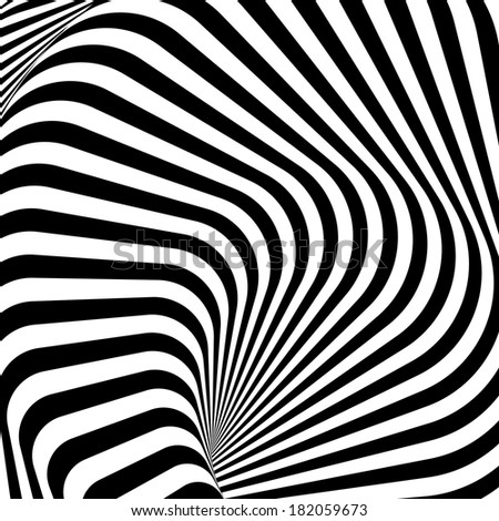 Design monochrome whirlpool motion illusion background. Abstract strip lines torsion backdrop. Vector-art illustration - stock vector