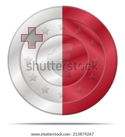 design of a euro coin with the Malta flag  - stock vector