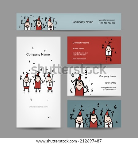 Design of business cards with corporate party. Vector illustration - stock vector