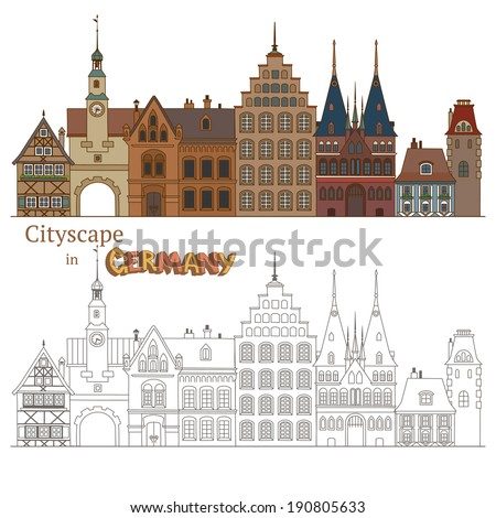 Design of Cityscape in Germany and Typical German Architecture - stock vector