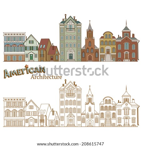Design of Cityscape in United States and Typical American Architecture - stock vector