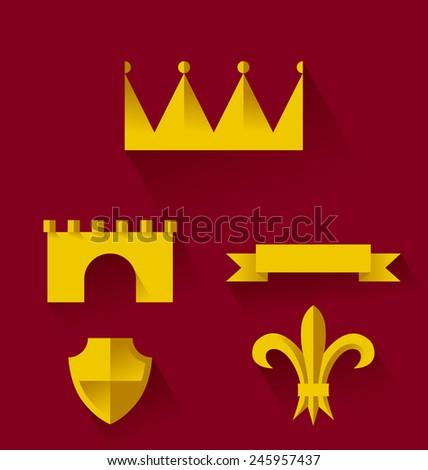 Design of heraldic symbols and elements. Vector illustration - stock vector