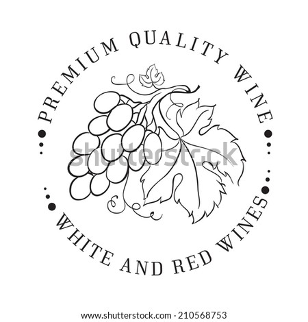 Design of logo for wine with grapes. Vector illustration. - stock vector