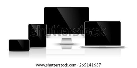 Design of modern black devices. Vector illustration - stock vector