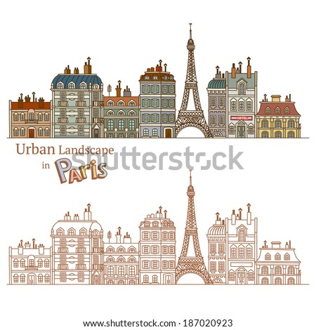 Design of Urban Landscape and Typical Parisian Architecture - stock vector