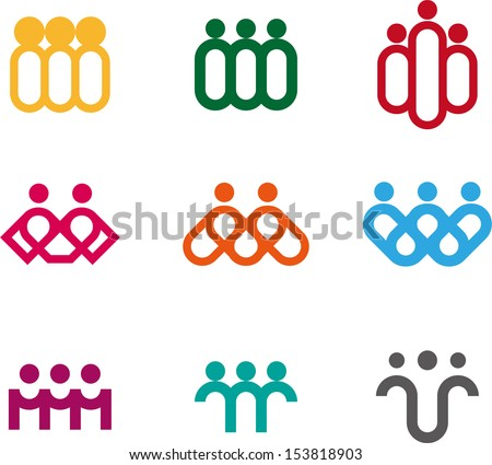 Design people logo element. Vector icon template. You can use in the media, alliances, environmental protection, mutual aid associations and other social welfare agencies.  - stock vector