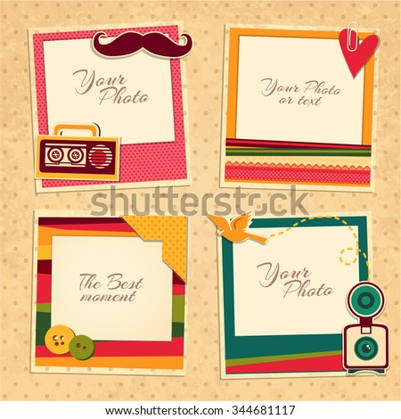 Design photo frames on nice background. Decorative template for baby, family or memories. Scrapbook concept, vector illustration. Birthday - stock vector
