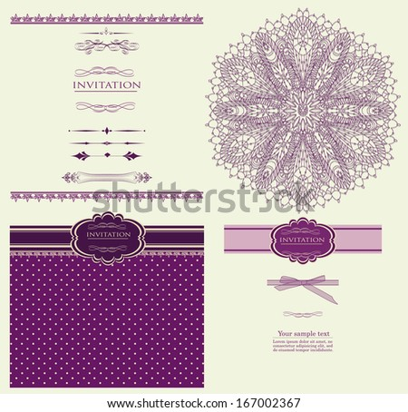 Design purple invitation merry Christmas vector eps 10 - stock vector