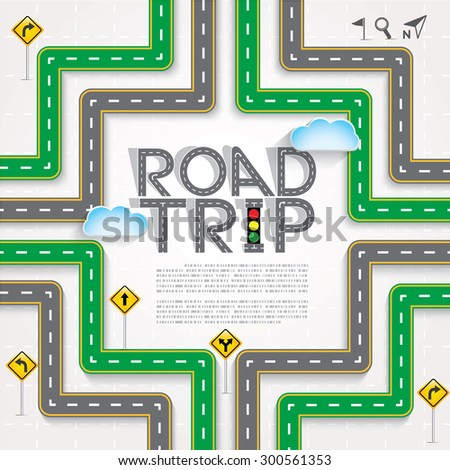 "Design road / street frame with words ""Road Trip"" and icon set, vector template background, Illustration EPS 10. - stock vector"