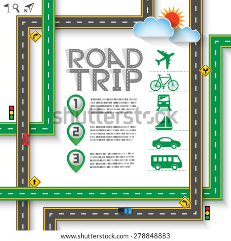 "Design Road & Street Template Background with Words ""Road Trip"" and traffic signs, Vector EPS10. - stock vector"