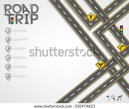 Design Road & Street Template with Words Road Trip and Map Pointer, Vector EPS10. - stock vector