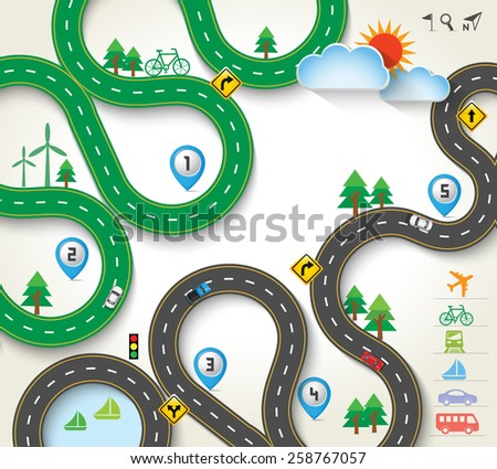 Design Road / Street with Map Pointer, Travel Concept, Vector Template Background, Illustration EPS 10. - stock vector
