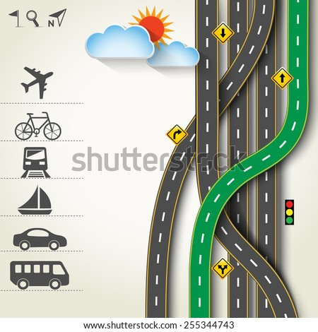 Design road & street with transportation icon set, vector template background, Illustration EPS 10. - stock vector