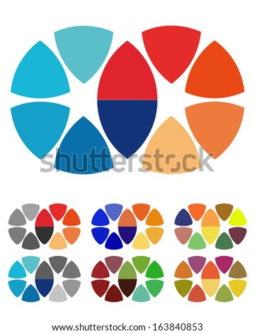 Design round logo element. Crushing abstract circle pattern. Colorful icons set.  - stock vector