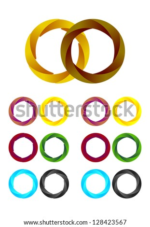 Design round logo element. Infinite cross ribbon vector design icon template. - stock vector