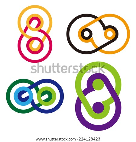 "Design round wheel element. Abstract wave vector logo template set. Knots icon. ""b"", ""d"", ""p"", ""q"",""6"",""8"",""9"", letters icon set. - stock vector"
