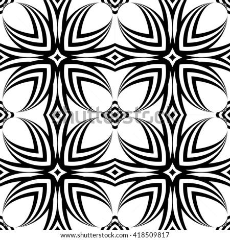 Design seamless decorative flower pattern. Abstract monochrome background. Vector art - stock vector