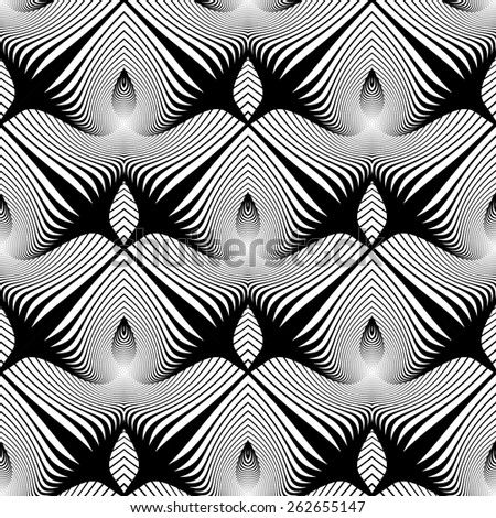 Design seamless geometric pattern. Abstract monochrome waving lines background. Vector art. No gradient - stock vector