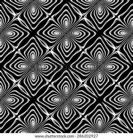 Design seamless monochrome decorative pattern. Abstract geometric background. Vector art. No gradient - stock vector