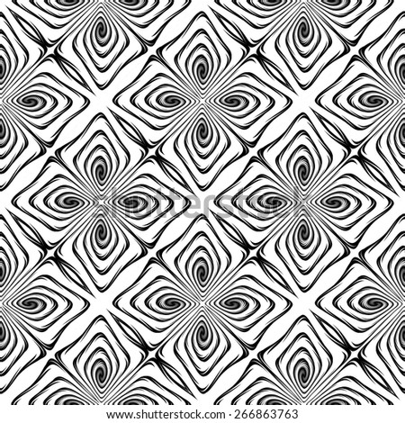 Design seamless monochrome decorative pattern. Abstract geometric twisted background. Vector art. No gradient - stock vector