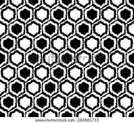 Design seamless monochrome hexagon geometric pattern. Abstract grid background. Vector art - stock vector
