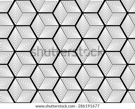 Design seamless monochrome hexagon geometric pattern. Abstract striped zigzag background. Vector art. No gradient - stock vector
