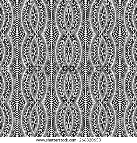 Design seamless monochrome stripy pattern. Abstract warped textured twisted background. Vector art. No gradient - stock vector