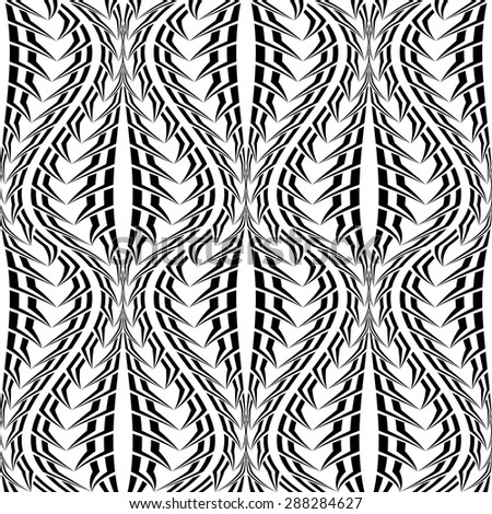 Design seamless monochrome stripy twisting pattern. Abstract warped textured background. Vector art - stock vector