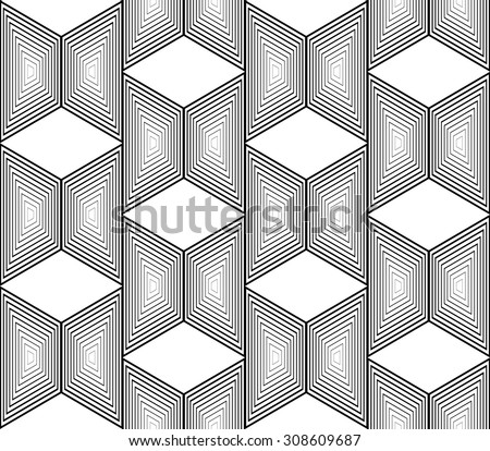 Design seamless monochrome trapezium geometric pattern. Abstract striped zigzag background. Vector art. No gradient - stock vector