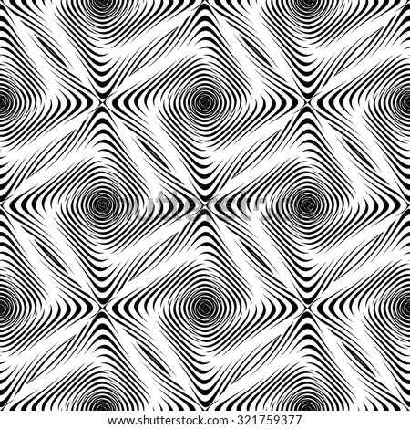 Design seamless monochrome twisting pattern. Abstract geometric background. Vector art. No gradient - stock vector