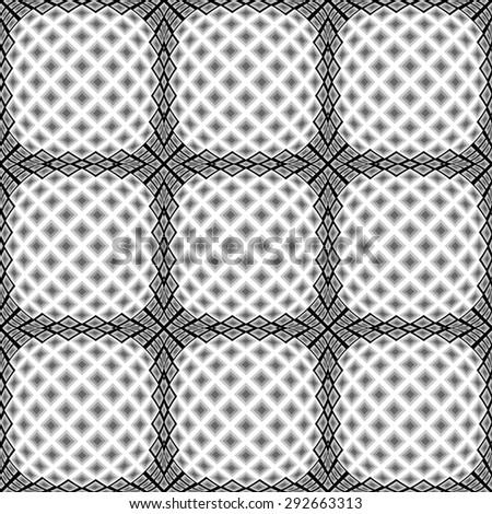 Design seamless monochrome warped diamond pattern. Abstract convex textured background. Vector art. No gradient - stock vector