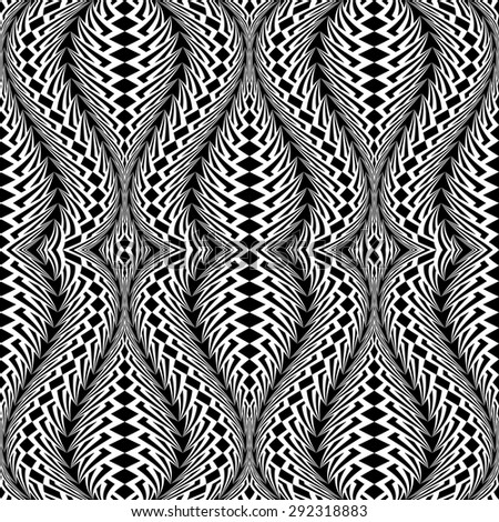 Design seamless monochrome waving pattern. Abstract warped textured background. Vector art. No gradient - stock vector