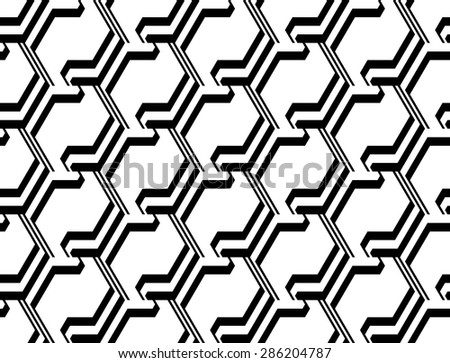 Design seamless monochrome zigzag geometric pattern. Abstract striped background. Vector art - stock vector