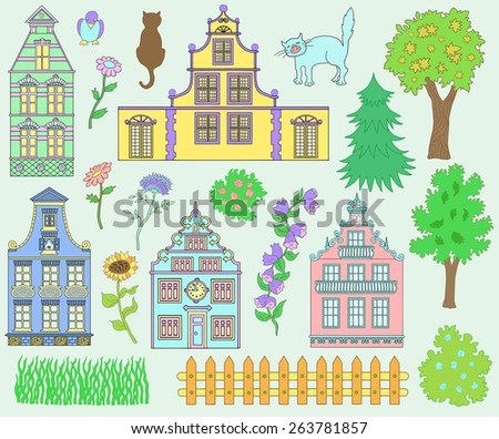 Design set with pretty decorated houses, cute fence, cats, trees and nature details. Hand drawn elements - stock vector