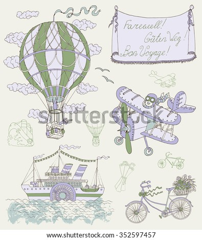 Design set with vintage means of transportation and banner. Retro air balloon, plane, bicycle and steamship. Hand drawn vector illustration on travel theme - stock vector