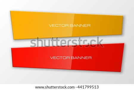 Design shape Origami vector banner. The original form as two rectangles superimposed on each other. The flat image. Vector graphics - stock vector