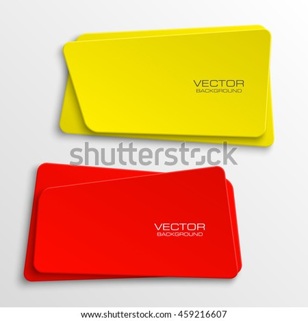 Design shape Origami vector banner. The original form as two squares with rounded corners, overlapping. The flat image. Vector graphics - stock vector