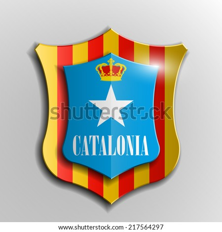 Design shield Origami banner  with the historic flag and the coat of arms of Catalonia - stock vector