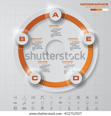 Design 5 steps presentation template and set of business icons. EPS10. - stock vector