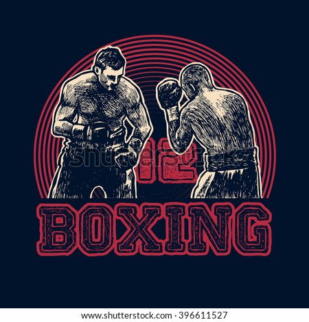 Design t-shirt Boxing with boxers. Boxing hand-written typography, t-shirt graphics, vector illustration. - stock vector