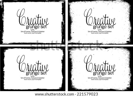 Design template.Abstract grunge frame texture. Stock vector set - easy to edit - stock vector